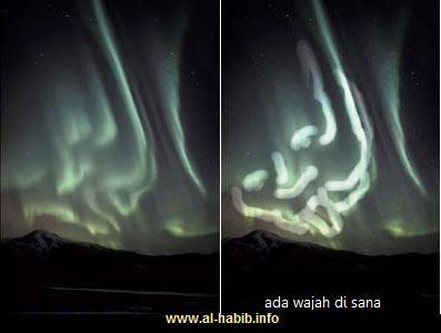 Wajah di langit. Gambar Aurora ini sebenarnya bisa dilihat dengan sudut pandang lain untuk menghasilkan lafal atau gambar imajinasi lain, dalam hal ini wajah!