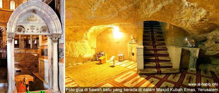 Gambar gua di bawah batu yang berada di dalam Masjid Kubah Emas (Qubah Sakhra) di Yerusalem, Palestina.